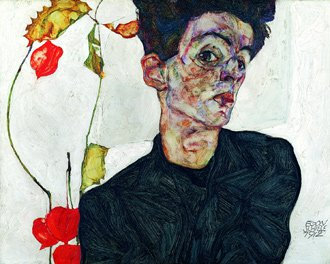 Viena presenta: Schiele rediscovered. Ein Künstler und sein Sammler Egon Schiele (1890-1918), Self-Portrait with Chinese lantern Plant, Oil and opaque colour on wood © Leopold Museum, Inv. 454